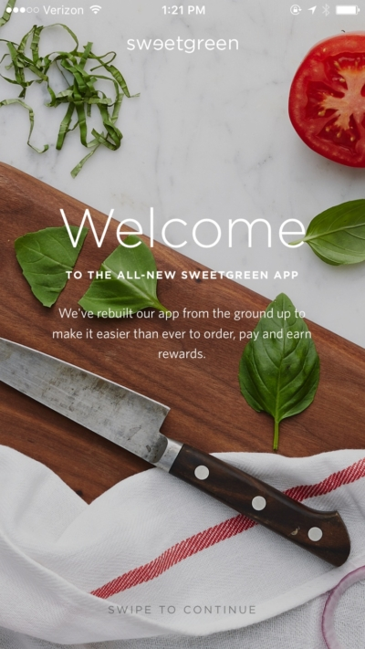 Welcome on iOS by Sweetgreen from UIGarage