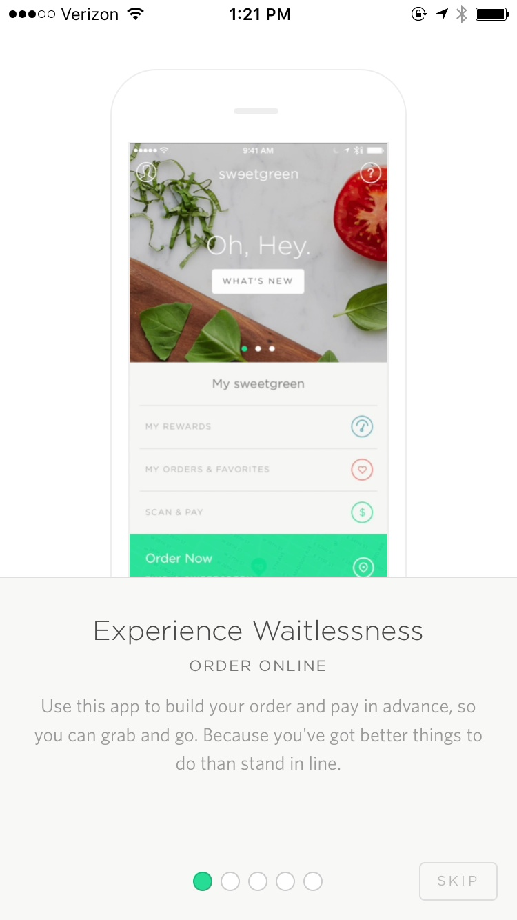 Onboarding on iOS by Sweetgreen from UIGarage