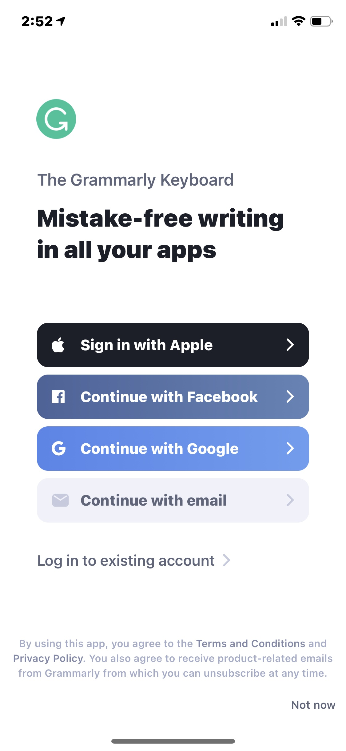 Login on iOS by Grammarly from UIGarage