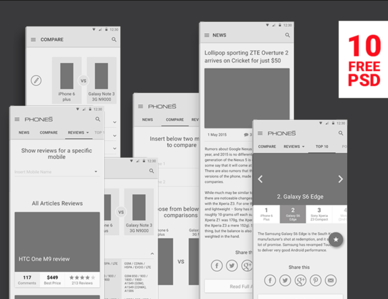 Free PSD Wireframes for Phones Reviews - Material Design from UIGarage