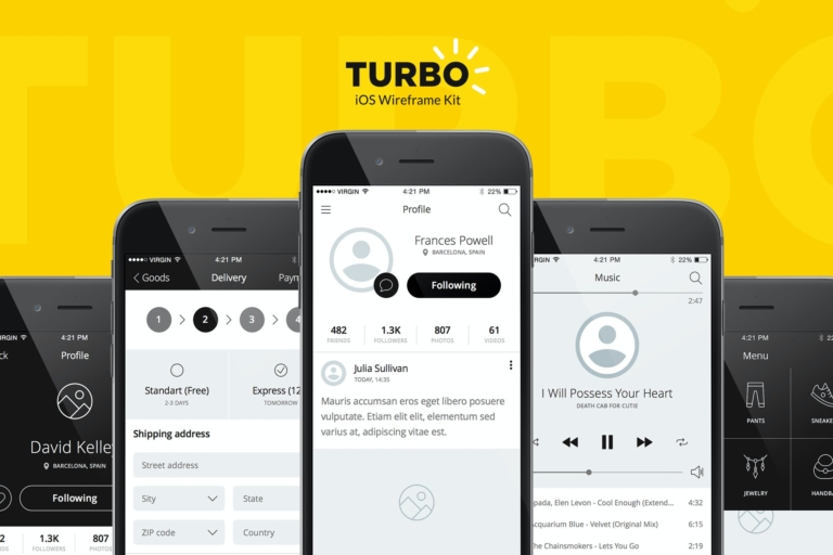 Turbo iOS Wireframe Kit from UIGarage