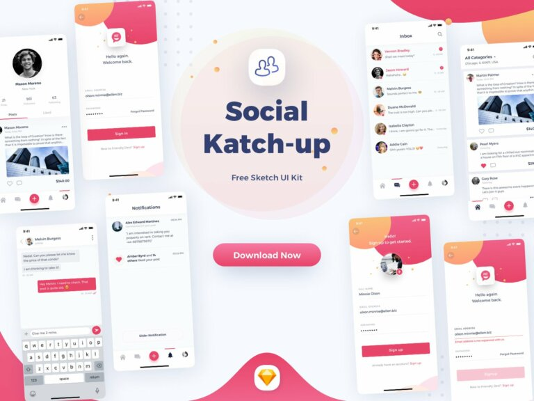 Social - Katchup Freebie - Sketch UI Kit from UIGarage
