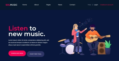 Homepage on Web by SolMusic from UIGarage