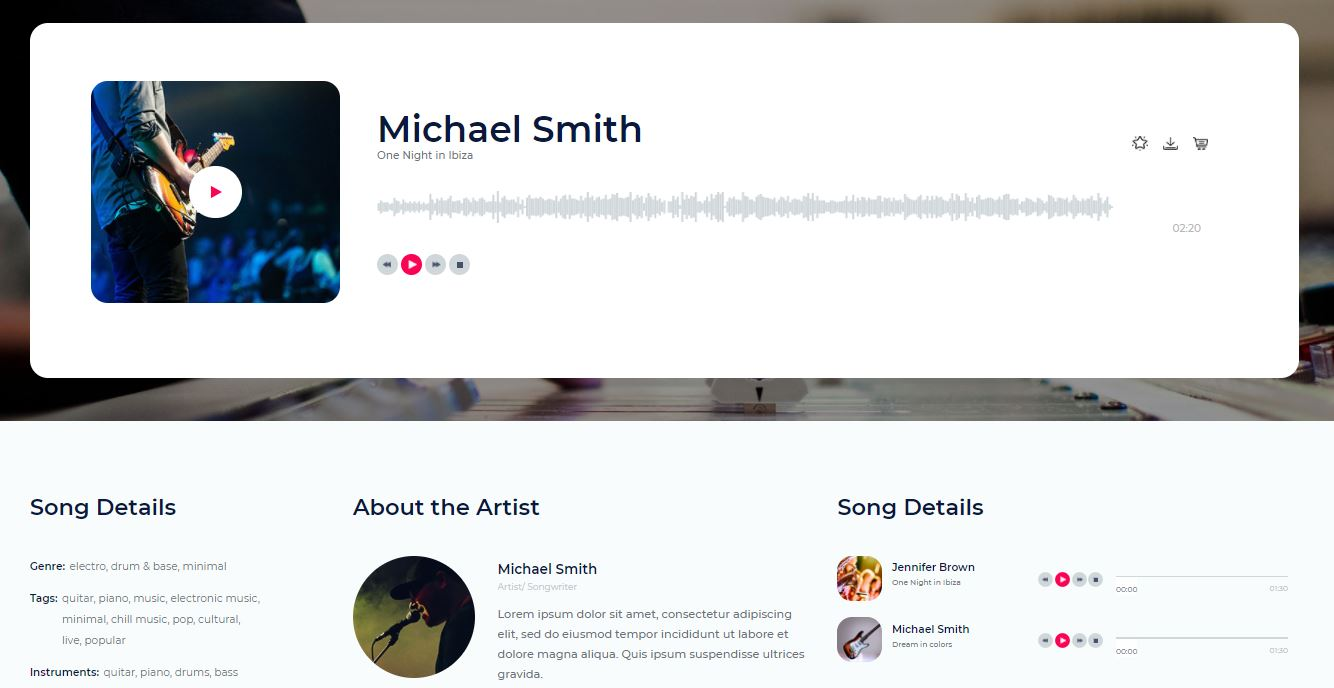 Music Details on Web by SolMusic from UIGarage