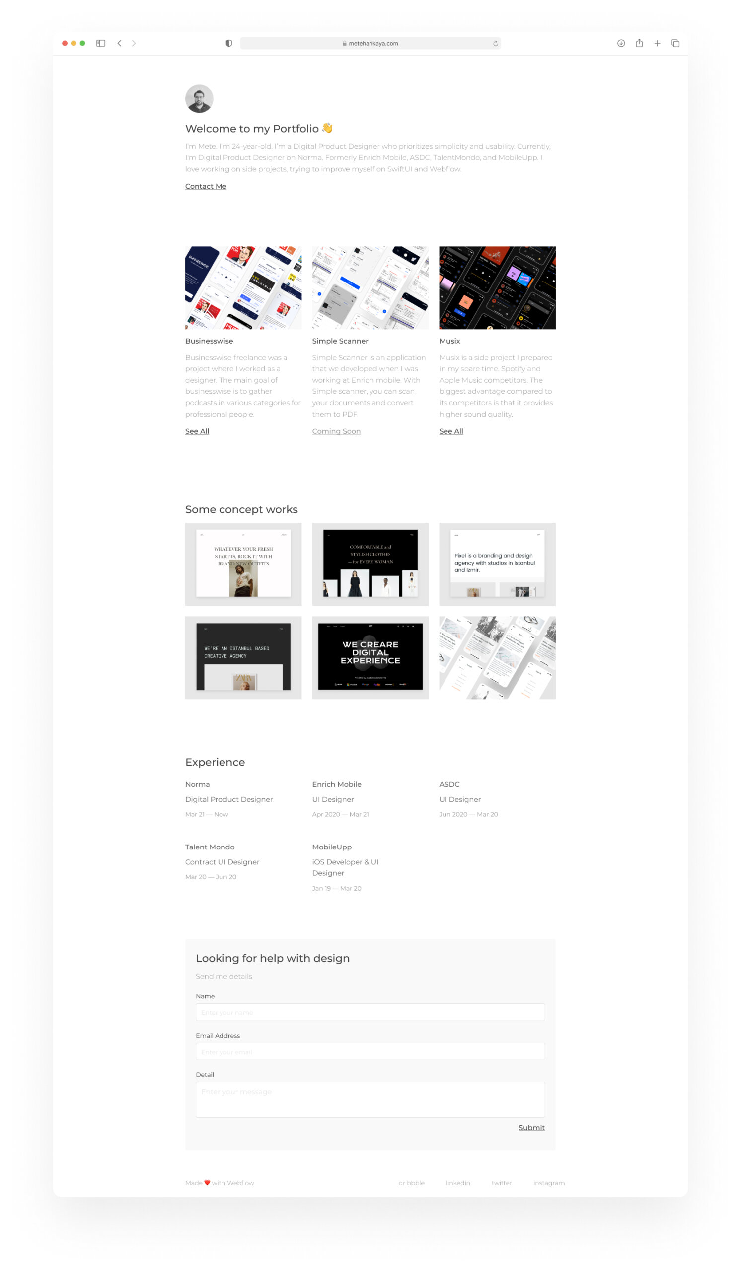 Portfolio Free Template for Figma from UIGarage