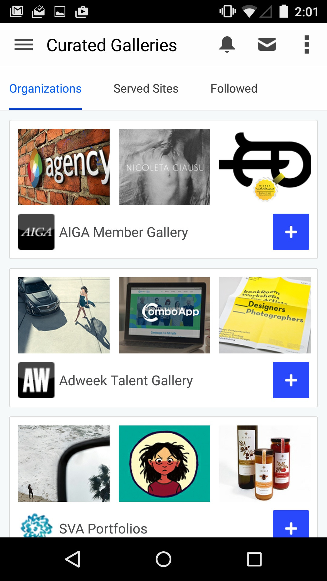 Curated Galleries on Android by Behance from UIGarage