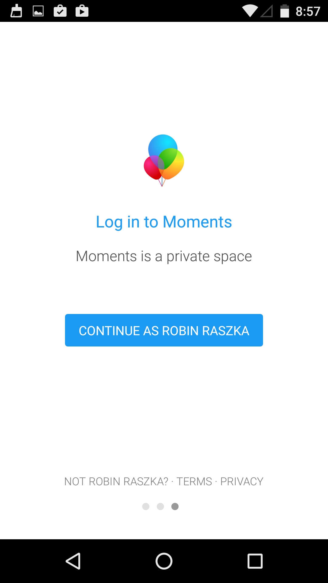 Login on Android by Moments from UIGarage