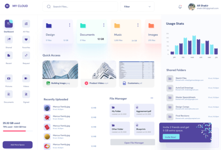 Free Dashboard UI For Cloud File Storage from UIGarage