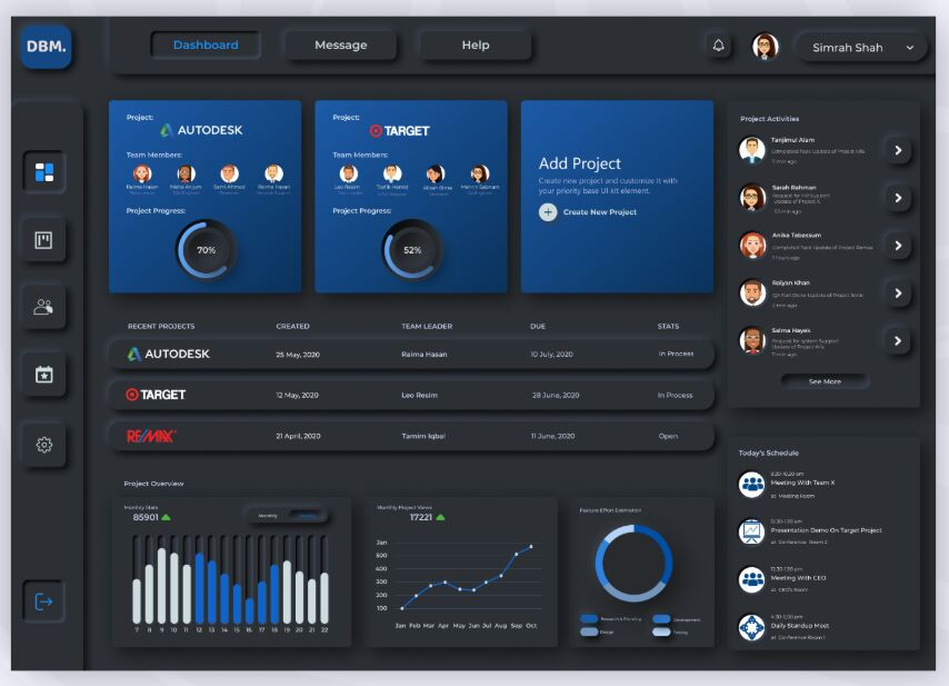 Project manager Dashboard Neumorphism Dark UI from UIGarage