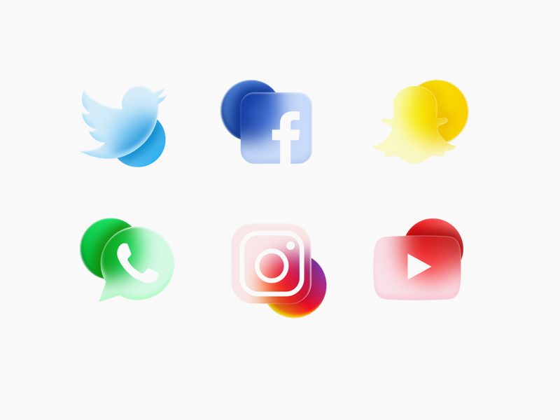 Social Media Icons With Frosted Glass Effect from UIGarage