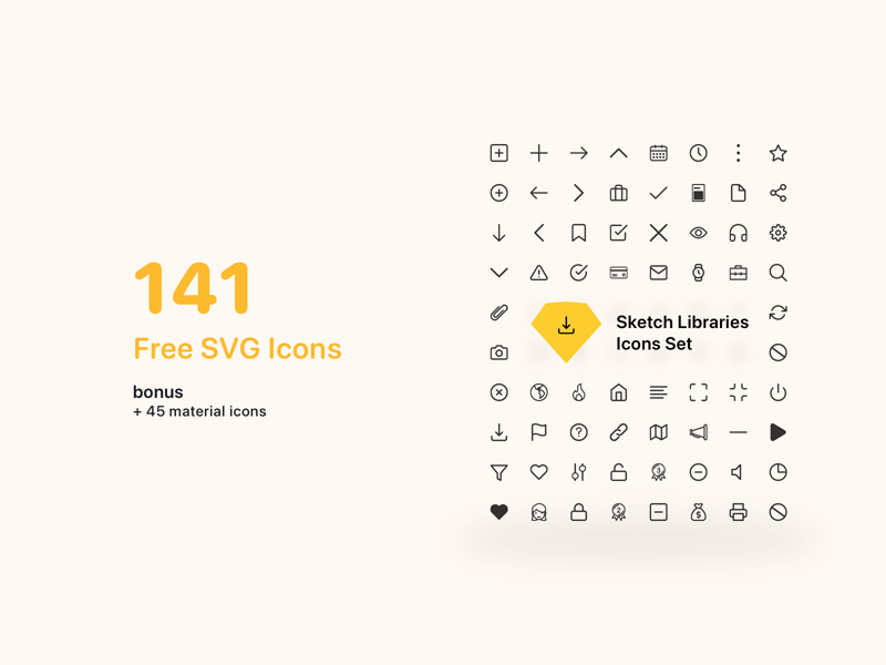 Icon Set Sketch Library from UIGarage