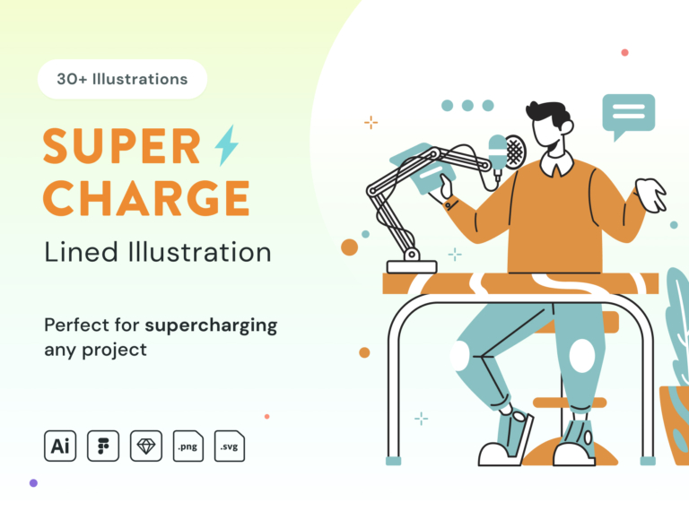 Supercharge Lined Illustration from UIGarage
