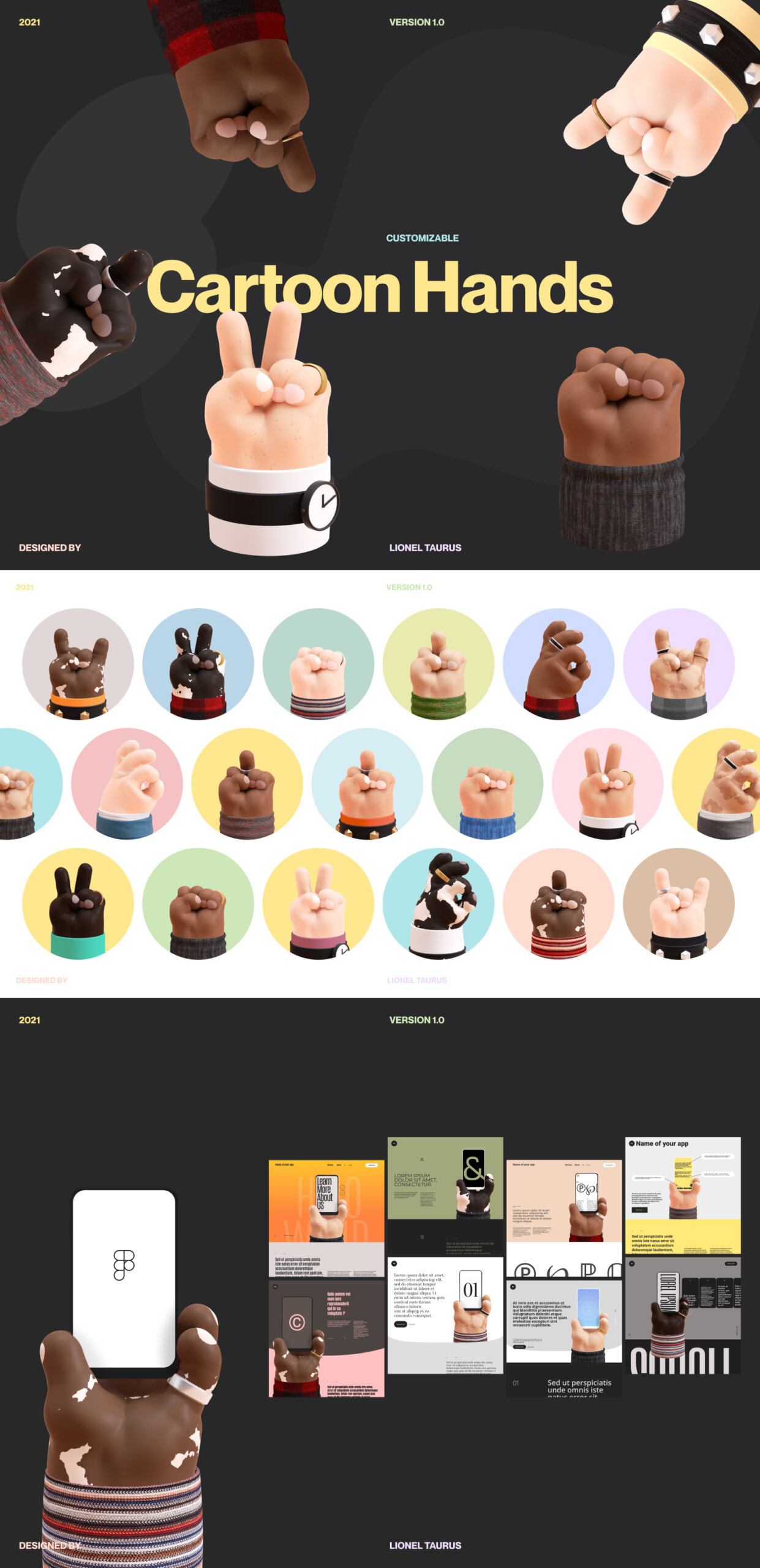 Free 3D Cartoon Hands Mockup for Figma from UIGarage