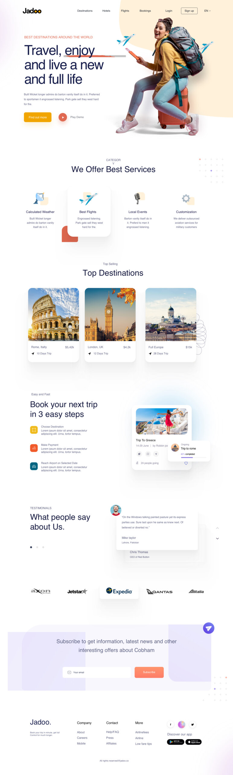 Travel Agency Free Landing Page from UIGarage